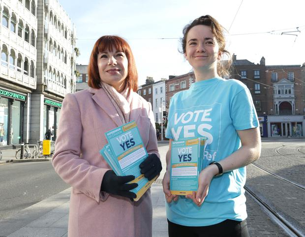 Josepha Madigan campaigning for a Yes vote in the divorce referendum yesterday. Picture: Damien Eagers