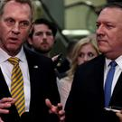 Acting US Defence Secretary Patrick Shanahan, left, and US Secretary of State Mike Pompeo speak to reporters after briefing senators on Iran in Washington REUTERS/James Lawler Duggan