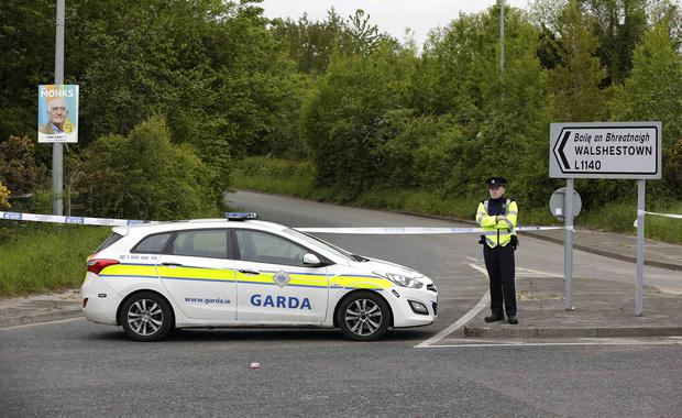 Garda at the scene of a shooting at Walshestown. Picture credit; Damien Eagers / INM