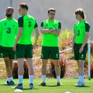 Republic of Ireland players, from left, David McGoldrick, Ronan Curtis, Seamus Coleman and Luca Connell are pictured during a training session in Quinta do Lago, Faro, Portugal. (Seb Daly/Sportsfile)