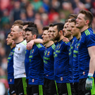 Mayo players stand for Amhrán na bhFiann before the Allianz Football League Division 1 Final match between Kerry and Mayo at Croke Park in Dublin. Photo by Piaras Ó Mídheach/Sportsfile