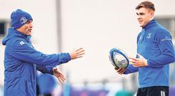 Leinster backs coach Felipe Contepomi giving instruction to Garry Ringrose at training. Photo: Sportsfile