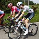 Irish road race champion Conor Dunne (Israel Cycling Academy) chats to training partner and friend Joe Dombrowski of EF Education First on stage 11 of the Giro d'Italia.