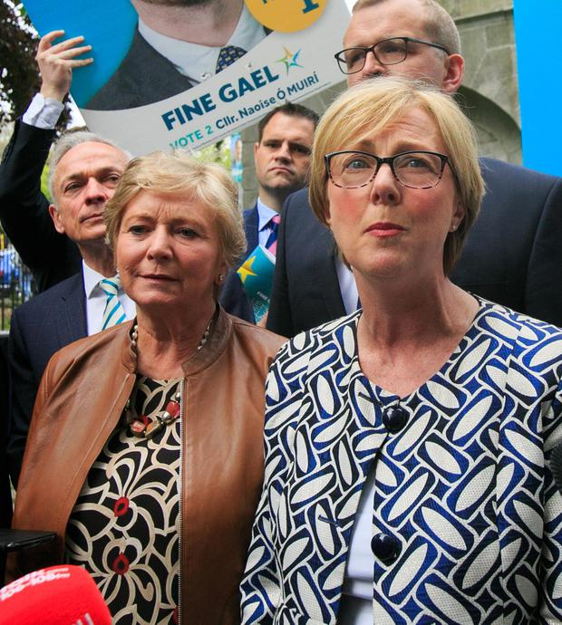 'People are engaging': Regina Doherty, Frances Fitzgerald and, back left, Richard Bruton. Photo: Gareth Chaney/Collins