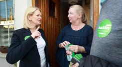 Fianna Fáil candidate Olivia Buckley chats with Anna O Flaherty while canvassing in Dundrum. Photo: Frank McGrath