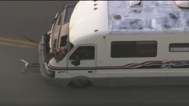 A dog jumped from a motor home during a police chase in Los Angeles (KTLA/PA)