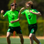 Luca Connell, right, and Seamus Coleman during training in Portugal
