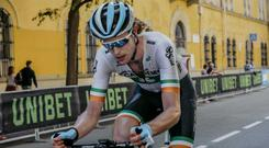 Conor Dunne in breakaway action on stage 12 of the Giro d'Italia.