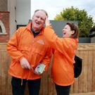 Helping hand: Fine Gael candidate Lorraine Hall helps former Lord Mayor of Dublin Gerry Breen with some sun cream while canvassing in Dalkey, Co Dublin. Photo: Frank McGrath