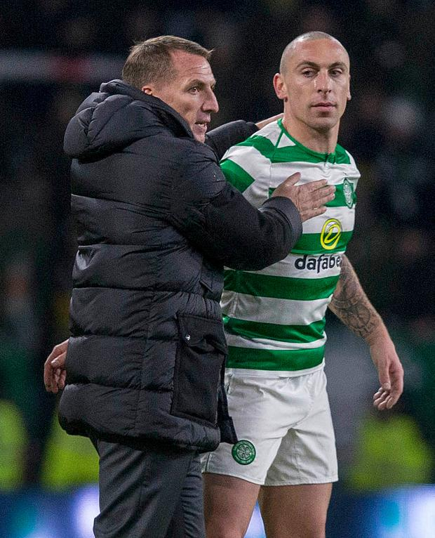 Celtic midfielder Scott Brown has praised his former manager Brendan Rodgers ahead of tomorrow's Scottish Cup final clash with Hearts. Photo: Jeff Holmes/PA Wire.