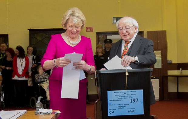 President of Ireland Michael D Higgins & his wife Sabina vote during the European Election, Divorce referendum & Council election at St Mary's Hospital in the Phoenix Park Dublin. Photo: Gareth Chaney Collins