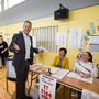 Taoiseach Leo Varadkar casting his vote at Scoil Thomáis in Castleknock for the European, local elections and referendum 2019 Pic: Mark Condren