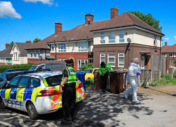Police at a property on Gregg House Road in Shiregreen, Sheffield, after six children were taken to hospital following a