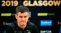 Jonathan Sexton during a Leinster press conference at Celtic Park in Glasgow, Scotland. Photo by Ramsey Cardy/Sportsfile