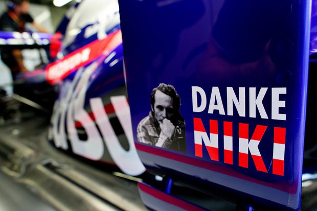 A tribute to the late Niki Lauda is seen on the Scuderia Toro Rosso STR14 during previews for the F1 Grand Prix of Monaco at Circuit de Monaco on May 22, 2019 in Monte-Carlo, Monaco. (Photo by Peter Fox/Getty Images)