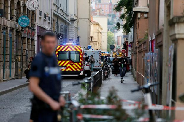 Fire brigade vehicles and ambulances are seen near the site of a suspected bomb attack in central Lyon, France May 24, 2019. REUTERS/Emmanuel Foudrot