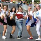 24/5/2019 L-R: Sarah Jane Brennan, Nicole Cannon, Niamh O Donnell, Stacey Cahill and Deborah Hoey all from Allenwood, Co. Kildare pictured outside Croke Park last night ahead of the SPICE girls concert.Pic: Collins