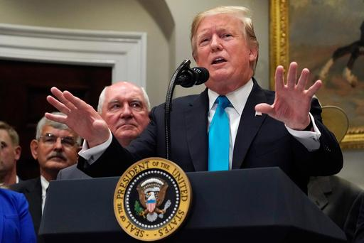 Backing: Donald Trump talks to the media in the Roosevelt Room at the White House. Photo: Chip Somodevilla/Getty Images