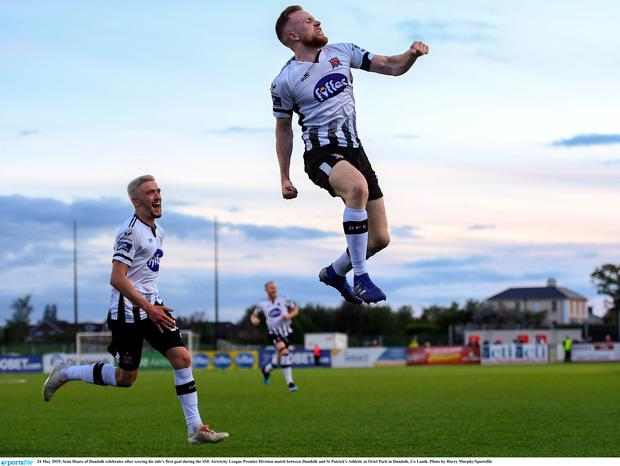 Seán Hoare of Dundalk celebrates after scoring his side's first goal during the SSE Airtricity League Premier Division match between Dundalk and St Patrick's Athletic at Oriel Park in Dundalk, Co Louth. Photo by Harry Murphy/Sportsfile