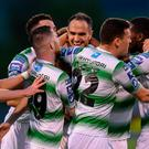 Joey O'Brien, centre, celebrates with his Shamrock Rovers team-mates after scoring his side's first goal during the SSE Airtricity League Premier Division match between Shamrock Rovers and Cork City at Tallaght Stadium in Dublin. Photo by Stephen McCarthy/Sportsfile