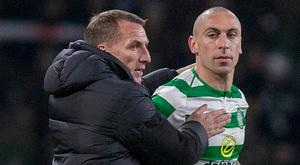 Former Celtic boss Brendan Rodgers with club captain Scott Brown