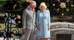 Charles and Camilla during a visit to Powerscourt House and Gardens in Enniskerry, Co Wicklow. Photo: Chris Jackson/PA Wire
