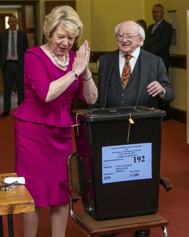 Having their say: President Michael D Higgins and his wife Sabina cast their votes. Photos: Kyran O'Brien