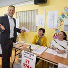 Taoiseach Leo Varadkar casting his vote at Scoil Thomáis, Laurel Lodge, Castleknock, Dublin 15 for the European, local elections and referendum 2019. Pic:Mark Condren