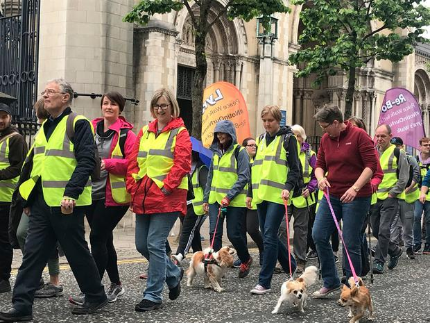 Friends of murdered journalist Lyra McKee begin a three-day peace walk from Belfast to Derry. Photo: Rebecca Black/PA Wire