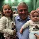 Granddaughters Sophie (3) and Róisín (6months) with councillor Thomas Welby after he topped the poll in Conamara