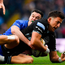 DTH van der Merwe of Glasgow Warriors is tackled by Jonathan Sexton of Leinster