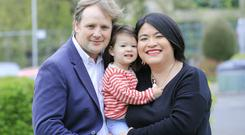 Green Party candidates and local election winners Patrick Costelloe and Hazel Chu with their daughter Alex pictured at the count centre in the RDS. Picture; Gerry Mooney