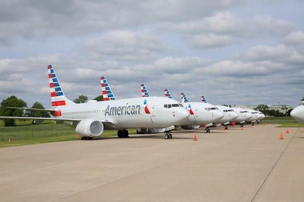 Boeing 737 MAX jets sit parked at a facility in Tulsa, Oklahoma. Photo: American Airlines/Handout via REUTERS