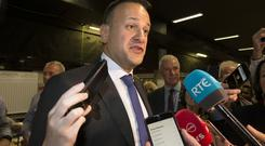 An Taoiseach Leo Varadkar answers questions from the media at the local election count at City West. Photo: Tony Gavin 25/5/2019