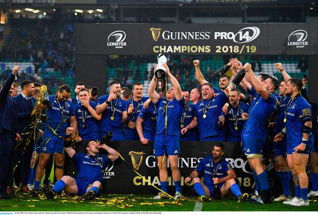 Leinster celebrate with the cup
