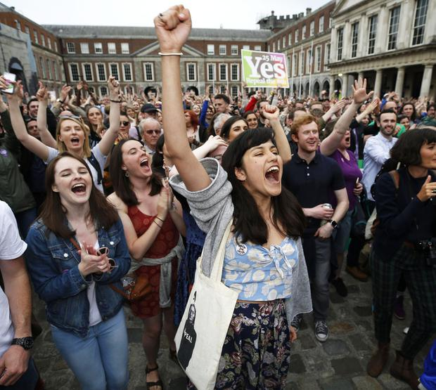 People gathered at Dublin Castle after the repeal of the Eighth Amendment in May 2018. Photo: Damien Eagers