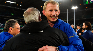 Leinster head coach Leo Cullen celebrates with Frank Sowman, Chairman, Leinster Rugby