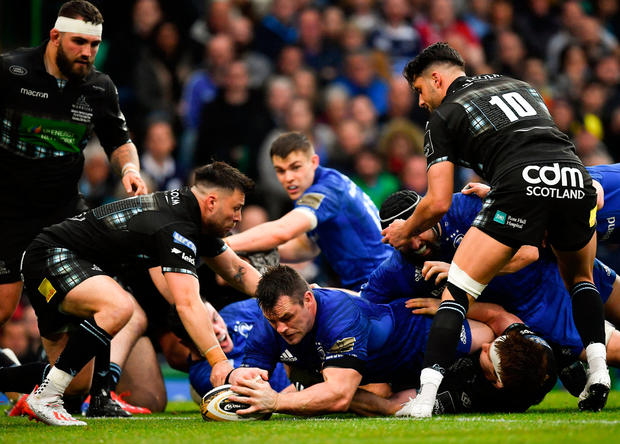 Cian Healy scores Leinster's second try against Glasgow Warriors last night. Photo: Brendan Moran/Sportsfile