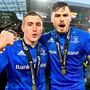 Jordan Larmour and Max Deegan of Leinster celebrate