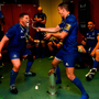 Tadhg Furlong and Jonathan Sexton of Leinster celebrate in the dressing room