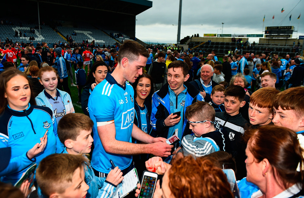 Brian Fenton of Dublin of Dublin with supporters after Louth clash