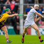 Cathal Mannion of Galway in action against Aidan Nolan of Wexford