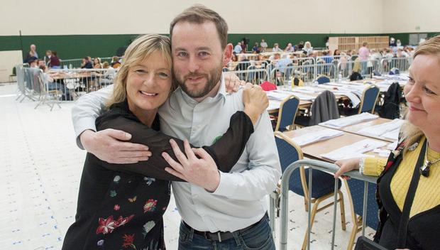Green Party candidate in the South constituency, Grace O'Sullivan greeted by supporter Ed Davitt at the count centre in Nemo, Cork. Pic Daragh Mc Sweeney/Provision