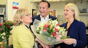 Taoiseach Leo Varadkar with MEP Mairead McGuinness and junior minister Helen McEntee. Picture at a canvass in Kells earlier this month. Photo: Gerry Mooney