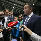 An Taoiseach Leo Varadkar speaks to the media at the European election count in the RDS Simmonscourt.