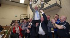 Hughie McElvaney is lifted by his supporters when he was elected for th Ballybay Clones area on Sunday afternoon. ©Rory Geary