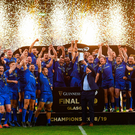 Blue brothers: Leinster's players celebrate the retention of their PRO14 title in Glasgow. Photo by Ramsey Cardy/Sportsfile