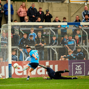 Sharp shooter: Cormac Costello scores one of Dublin's five goals during their hammering of Louth. Photo by Ray McManus/Sportsfile