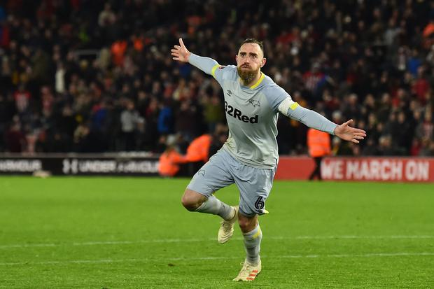 Richard Keogh is targeting a Premier League return with Derby County when they take on Aston Villa at Wembley in today's Championship play-off final. Photo: GLYN KIRK/AFP/Getty Images