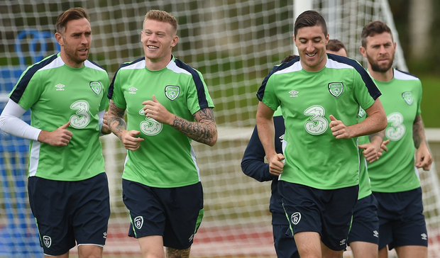 Richard Keogh, left, James McClean and Stephen Ward training with the Ireland squad in Versailles during Euro 2016. Photo: David Maher/Sportsfile